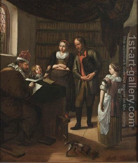 An Interior With A Family Before A Notary Making A Contract by Hendrik De Valk - Reproduction Oil Painting