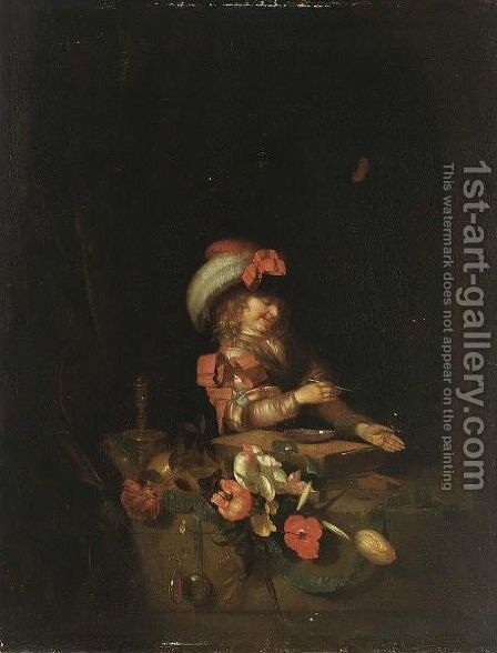 Vanitas A Boy In A Window Blowing Bubbles, With A Skull, Flowers, A Watch, A Candle And A Butterfly by Adriaen Van Der Werff - Reproduction Oil Painting
