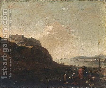 A Southern Harbour Scene With Workmen Unloading And Two Figures Conversing, A Fortified Castle Beyond by (after) Thomas Wijck - Reproduction Oil Painting