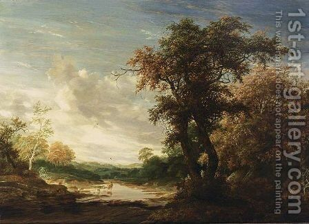 A Wooded Landscape With A Shepherd Watering His Herd In A Wallow by Jacob Salomonsz. Ruysdael - Reproduction Oil Painting