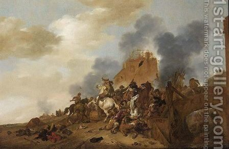 A Cavalry Battle Scene With Soldiers Fighting On A Bridge Near Burning Ruins by (after) Philips Wouwerman - Reproduction Oil Painting