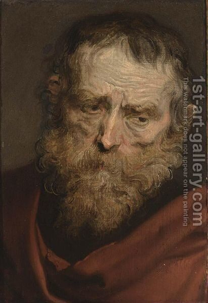 A Study Of A Bearded Man by (after) Dyck, Sir Anthony van - Reproduction Oil Painting