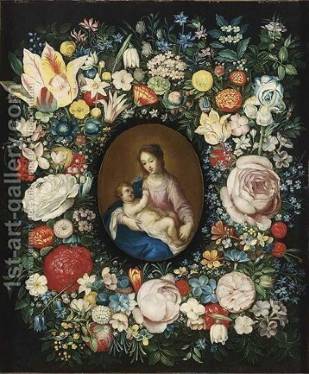 A Garland Of Roses, Tulips And Other Flowers Surrounding A Medallion Of The Virgin And Child by (after) Frans II Francken - Reproduction Oil Painting