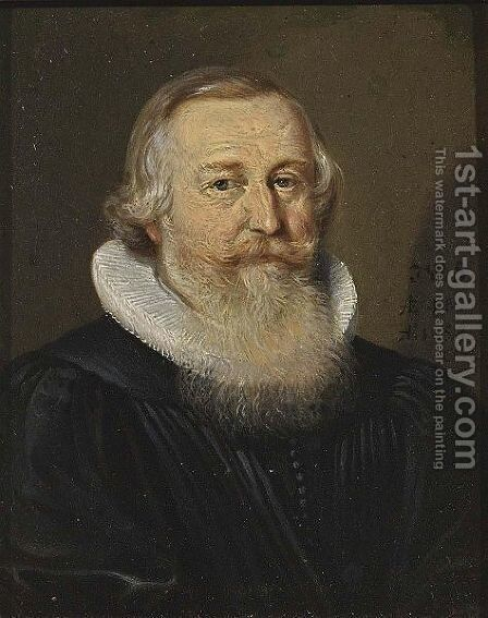 A Portrait Of An Elderly Bearded Gentleman, Aged 46, Bust Length, Wearing A Black Coat With A White Lace Collar by Conrad Meyer - Reproduction Oil Painting