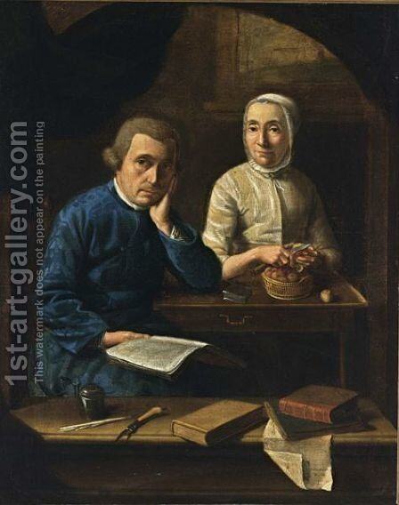 A Portrait Of A Couple, With The Man Holding A Book And The Woman Peeling Apples At A Desk, A Ledge With Writer's Utensils In The Foreground by Dutch School - Reproduction Oil Painting