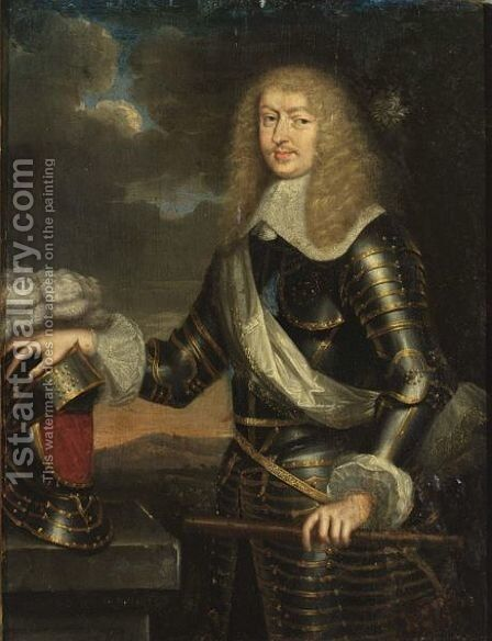 A Portrait Of Francois Emmanuel De Bonne De Crequy, Duke Of Lesdignieres, Marshall Of France (1624-1684), Standing Three-Quarter Length, Wearing Armour by (after) Loo, Carle van - Reproduction Oil Painting