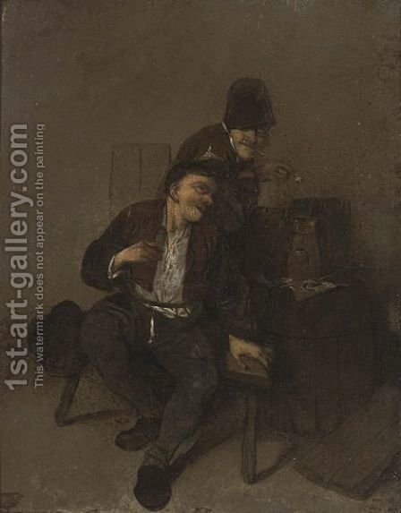 Two Peasants Drinking In An Inn by Cornelis (Pietersz.) Bega - Reproduction Oil Painting