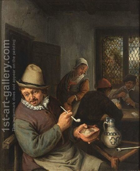 A Peasant Lighting A Pipe In An Inn, Cardplayers In The Background by (after) Adriaen Jansz. Van Ostade - Reproduction Oil Painting