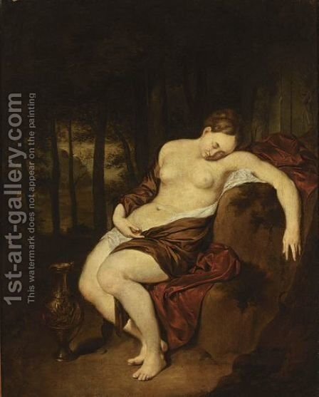 A Nude Woman Sleeping In A Forest, With A Silver Gilt Jug Beside Her by Jan Van Mieris - Reproduction Oil Painting