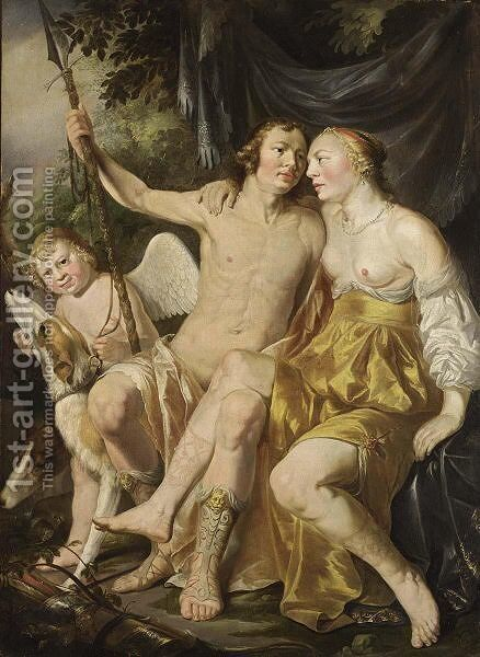 Venus, Adonis And Cupid, Together With Hounds by Hendrick Heerschop or Herschop - Reproduction Oil Painting