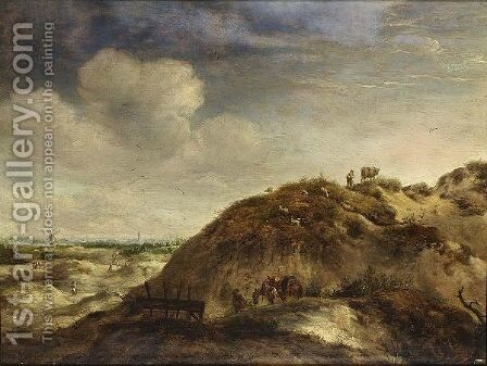 A Dune Landscape With A Traveller And Two Donkeys On A Path, A Shepherd And His Herd, Together With Other Figures, A City In The Distance by Jan Wouwerman - Reproduction Oil Painting
