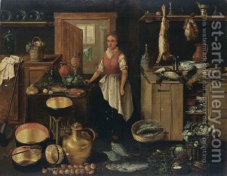 A Kitchen Interior With A Maid, A Still Life Of Pots And Pans And Vegetables In The Foreground by Dutch School - Reproduction Oil Painting