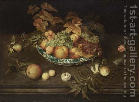 A Still Life With Grapes, Peaches, Apricots And Apples In A Wan-Li Porcelain Bowl, Together With A Pear, A Prune, Peaches, Apricots, Carnations, A Butterfly And A Blue Tit, All On A Ledge by (after) Ambrosius The Younger Bosschaert - Reproduction Oil Painting