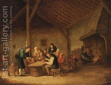 An Interior Of An Inn With Peasants Sitting Around A Table Drinking And Playing Dice, And Figures Near A Fireplace In The Background by Bartholomeus Molenaer - Reproduction Oil Painting