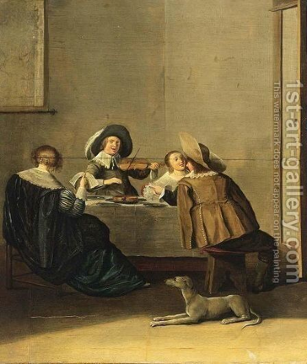 An Elegant Company Making Music In An Interior 2 by (after) Dirck Hals - Reproduction Oil Painting