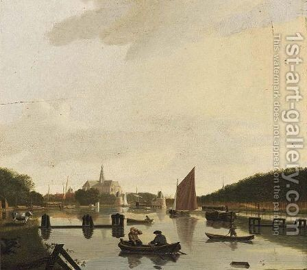 Haarlem A View From The South-East, With The St. Bavo And The Catharina Bridge, The River Spaarne In The Foreground by Hendrik Keun - Reproduction Oil Painting