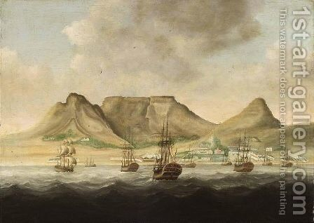 Capetown Dutch Merchantmen Near The Coast Of South-Africa With A View Of The Tafelberg (Table Mountain) Beyond by Dutch School - Reproduction Oil Painting