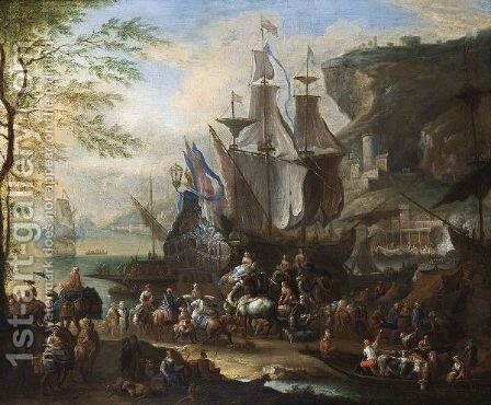 A Mediterranean Harbour Scene With Figures Unloading Merchantmen, Together With Horsemen, An Elephant, Dromedaries And A Ferry In The Foreground, A View Of A Town In The Background by Jan Baptist van der Meiren - Reproduction Oil Painting
