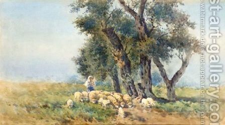 Guarding The Flock by Angelos Giallina - Reproduction Oil Painting
