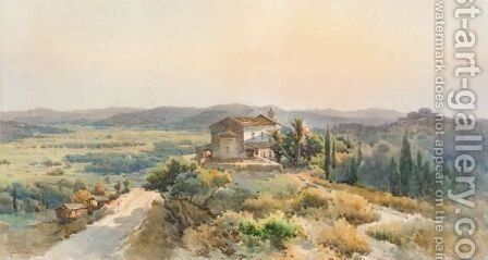 A Church In An Extensive Landscape by Angelos Giallina - Reproduction Oil Painting