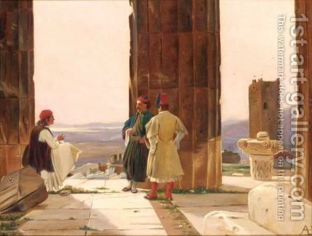 Figures Amongst Classical Ruins by Anton Laurids Johannes Dorph - Reproduction Oil Painting