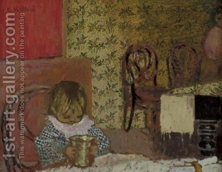 Enfant A Table by Edouard  (Jean-Edouard) Vuillard - Reproduction Oil Painting