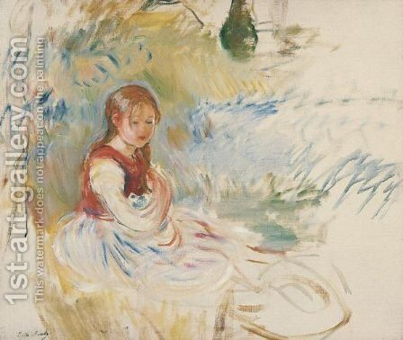 Petite Fille Assise Dans L'Herbe by Berthe Morisot - Reproduction Oil Painting