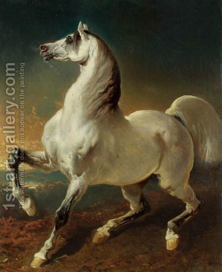 Cheval Blanc Effraye Par L'Orage by Alfred Dedreux - Reproduction Oil Painting