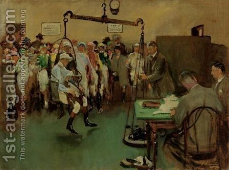 Weighing In At Sandown Park by Sir John Lavery - Reproduction Oil Painting