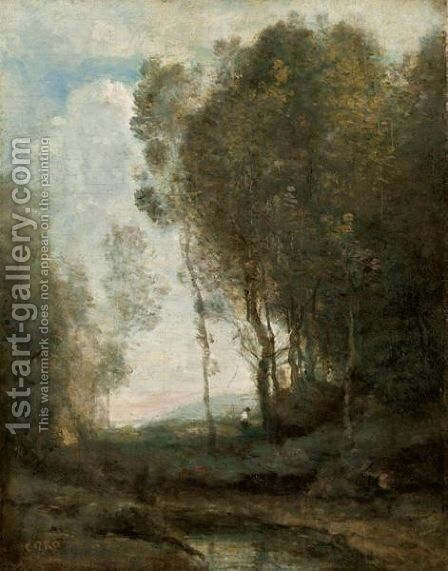 Bord Du Bois by Jean-Baptiste-Camille Corot - Reproduction Oil Painting