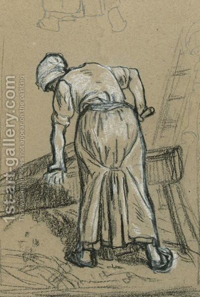 Study Of A Woman Breaking Flax by Jean-Francois Millet - Reproduction Oil Painting