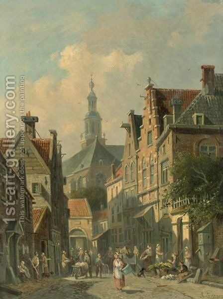 Villagers In A Dutch Town 3 by Adrianus Eversen - Reproduction Oil Painting