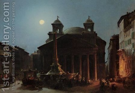 The Pantheon By Moonlight by Ippolito Caffi - Reproduction Oil Painting