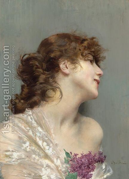Portrait Of A Lady With Lilacs by Giovanni Boldini - Reproduction Oil Painting