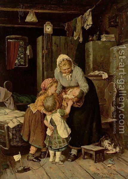 The New Baby by Meyer Georg von Bremen - Reproduction Oil Painting