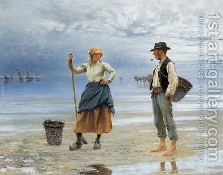 La Plage by August Wilhelm Nikolaus Hagborg - Reproduction Oil Painting
