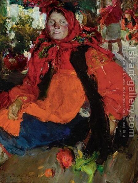 Portrait Of A Russian Peasant Girl by Abram Efimovich Arkhipov - Reproduction Oil Painting