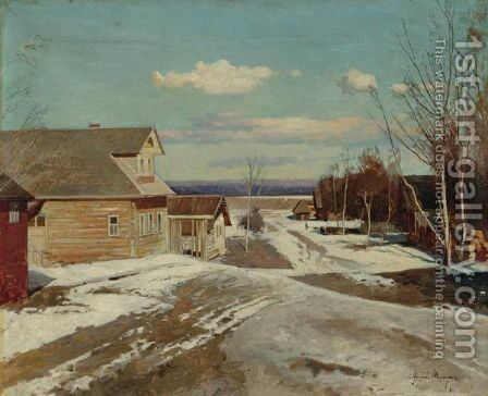 Town View, Winter by Andrei Nikolaevich Shilder - Reproduction Oil Painting