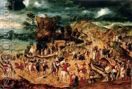 Landscape With The Way To Calvary by Herri met de Bles - Reproduction Oil Painting