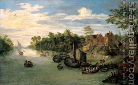 A River Landscape With A Ferry And Small Sailing Vessels Moored Before A Village by Jan, the Younger Brueghel - Reproduction Oil Painting