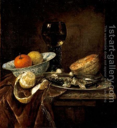 Still Life Of An Orange And A Lemon In A Porcelain Bowl, A Roemer, A Melon, A Sliced Herring On A Pewter Plate, And A Peeled Lemon Together On A Table Draped With A Velvet Cloth by Abraham Hendrickz Van Beyeren - Reproduction Oil Painting