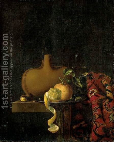 A Still Life With An Orange And A Lemon On A Pewter Plate by Claes Bergoijs - Reproduction Oil Painting