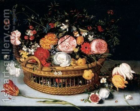 A Basket Of Tulips, Carnations, Roses And Other Flowers Resting On A Stone Ledge by (after) Jan The Elder Brueghel - Reproduction Oil Painting