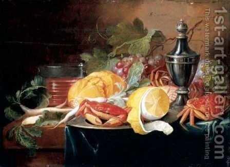 A Still Life With Grapes, A Lemon, Crabs And Bread Upon Pewter Dishes by Alexander Coosemans - Reproduction Oil Painting