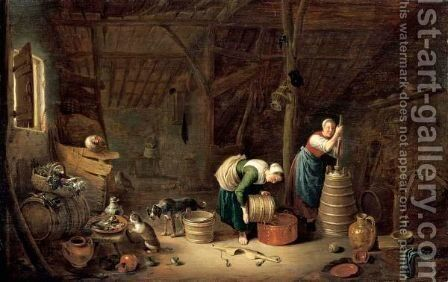 An Interior Of A Barn With Two Women by Hendrick Maertensz. Sorch (see Sorgh) - Reproduction Oil Painting