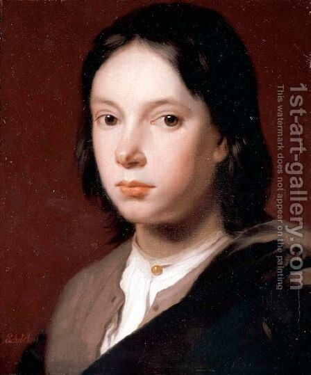 Portrait Of A Young Man, Bust Length, Wearing A Brown Jacket And A White Shirt. by Godfried Schalcken - Reproduction Oil Painting