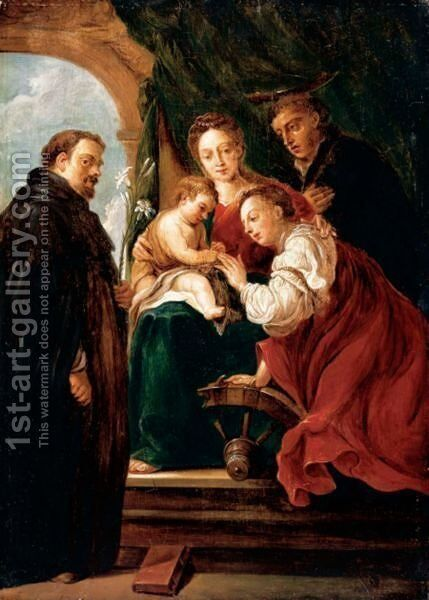 The Mystic Marriage Of Saint Catherine by David The Younger Teniers - Reproduction Oil Painting