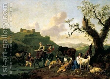 A River Landscape With Drovers And Their Animals by Hendrik Mommers - Reproduction Oil Painting