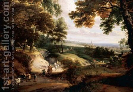 A Wooded Landscape With Huntsmen, Drovers And Cattle On A Track In The Foreground, A Church In The Distance by Jaques D'Arthois - Reproduction Oil Painting