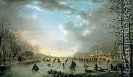 Winter Landscape With A Frost Fair And Figures Skating Upon A Frozen River by Andries Vermeulen - Reproduction Oil Painting